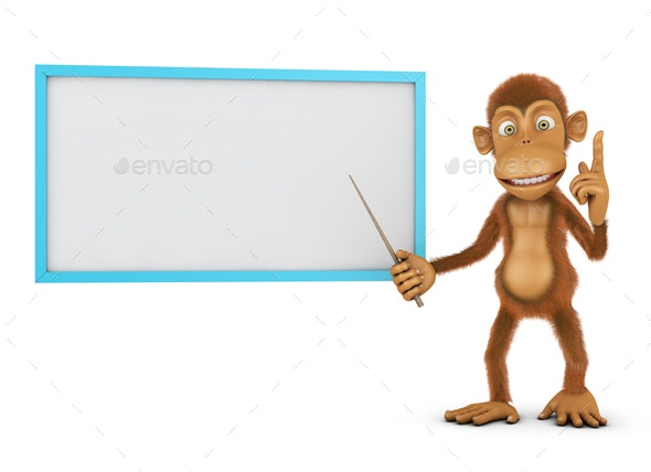 Monkey and Board - 3D Backgrounds