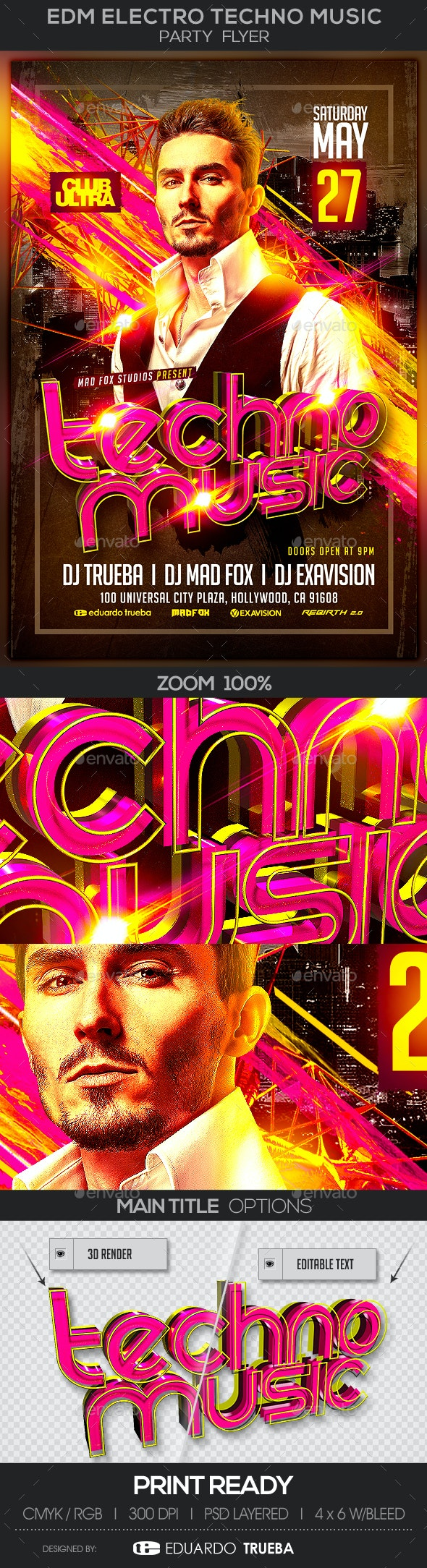 EDM Electro Techno Music Party Flyer - Clubs & Parties Events