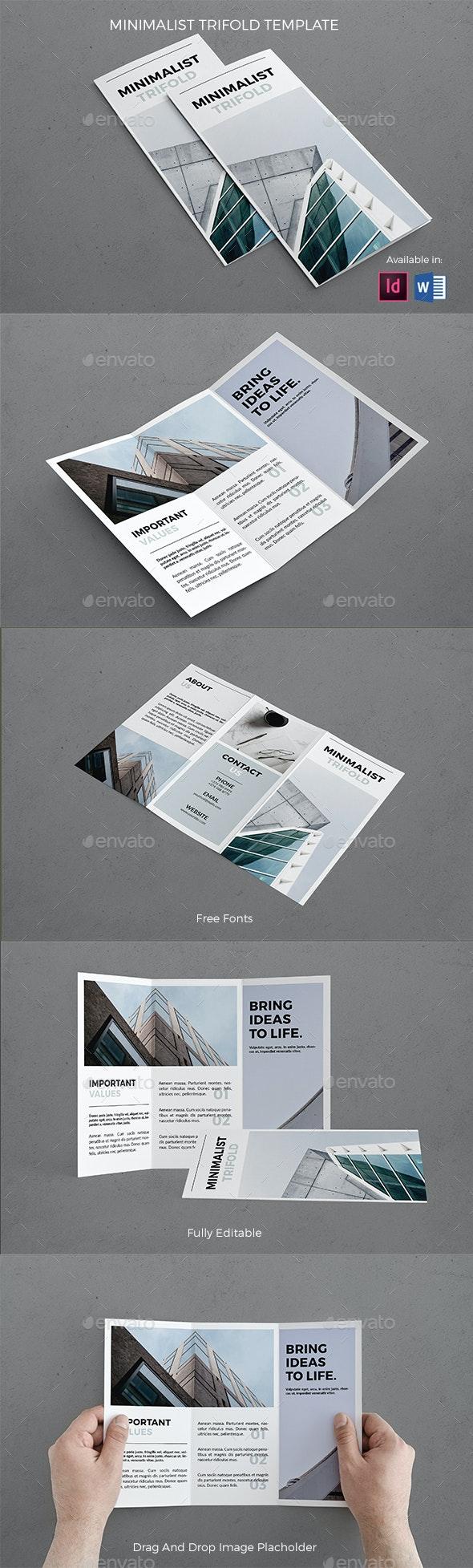 Minimalist Trifold Template - Brochures Print Templates
