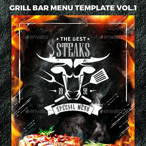 Grill Bar Menu Template vol.1