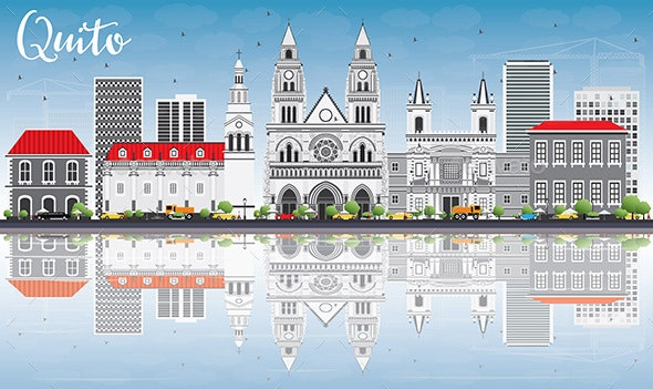 Quito Skyline with Gray Buildings, Blue Sky and Reflections. - Buildings Objects