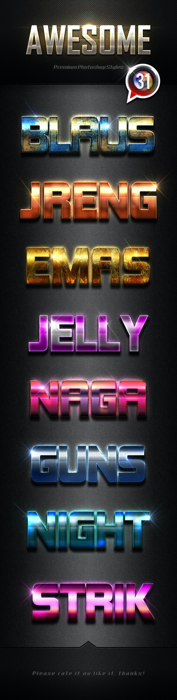 Photoshop Text Effects Vol.31 - Text Effects Styles