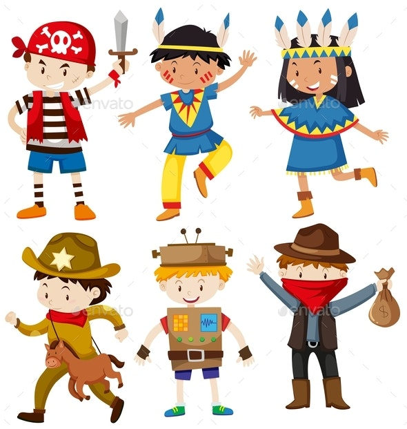 Children in Different Costumes - People Characters