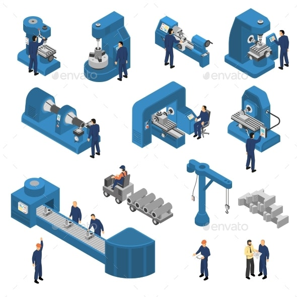 Machine Tools with Workers Isometric Set - Industries Business