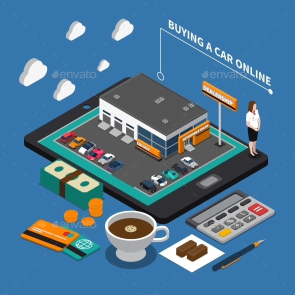 Buying Car Online Isometric Composition - Computers Technology