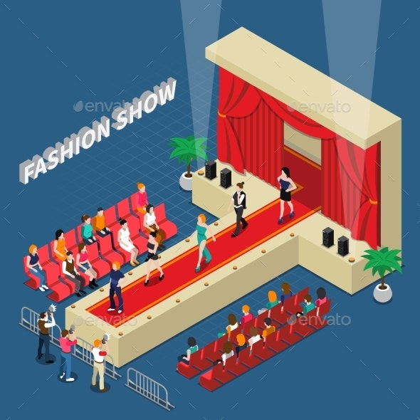 Fashion Show Isometric Composition - Industries Business