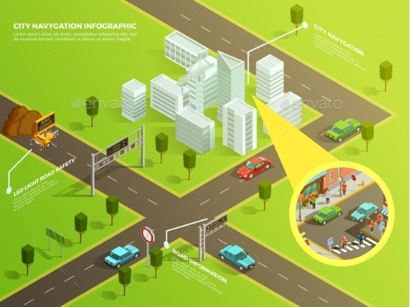 Isometric Infographic City Navigation - Buildings Objects