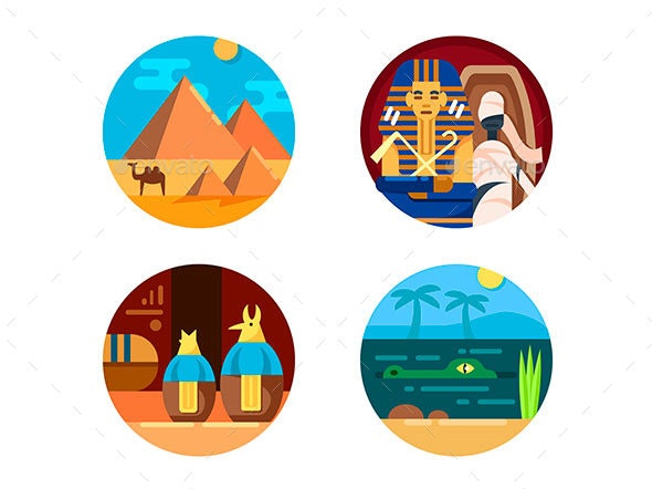 Travel To Egypt Set of Icons - Web Elements Vectors