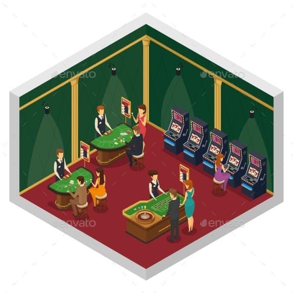 Casino Isometric Interior Composition