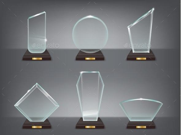 Illustration of Modern Glass Awards - Decorative Symbols Decorative
