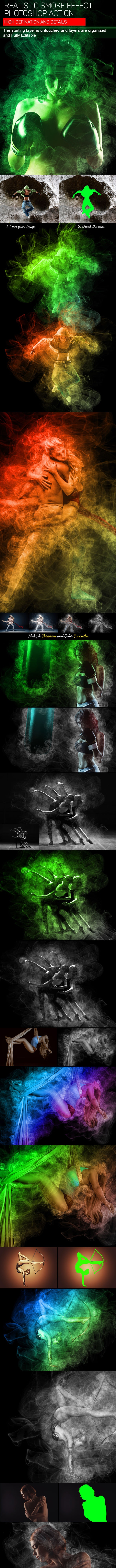 Realistic Smoke Photoshop Action - Photo Effects Actions
