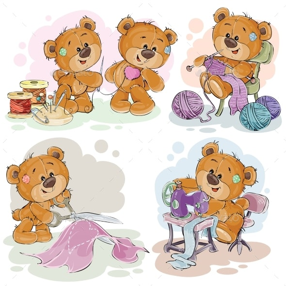 Set of Vector Clip Art Illustrations of Teddy - Animals Characters