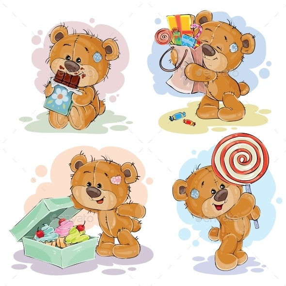 Illustrations with Teddy Bear Theme - Animals Characters