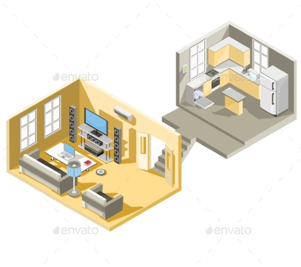Vector Isometric Design of a Living Room - Buildings Objects