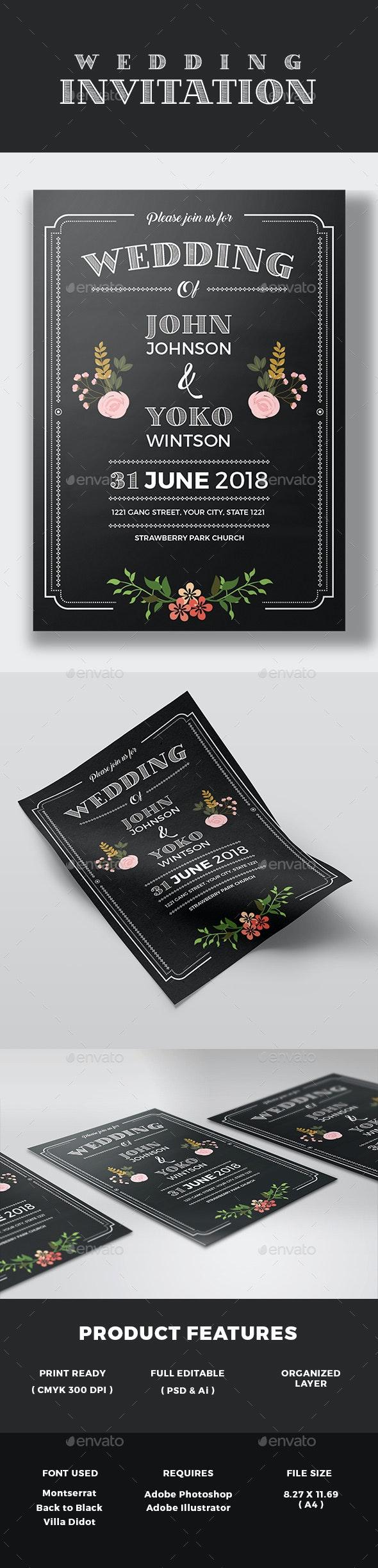 Chalkboard Style Wedding Invitation - Weddings Cards & Invites