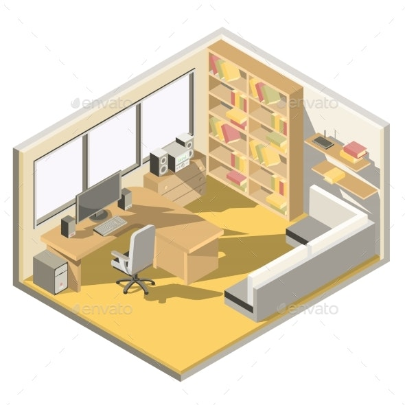 Vector Isometric Design of a Home Office - Buildings Objects