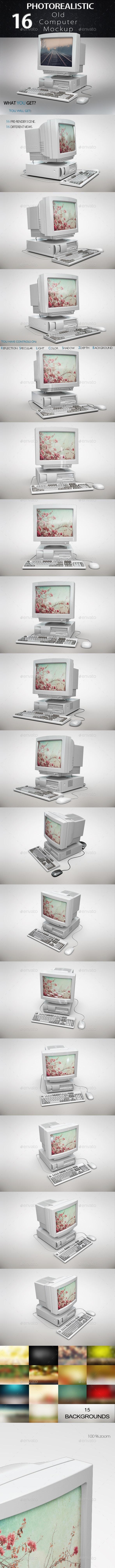Vintage Computer Mockup - Product Mock-Ups Graphics