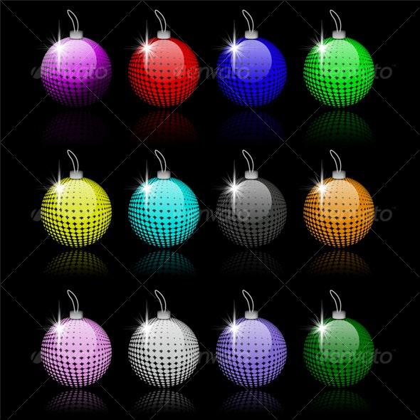 12 x Christmas Baubles - Decorative Symbols Decorative