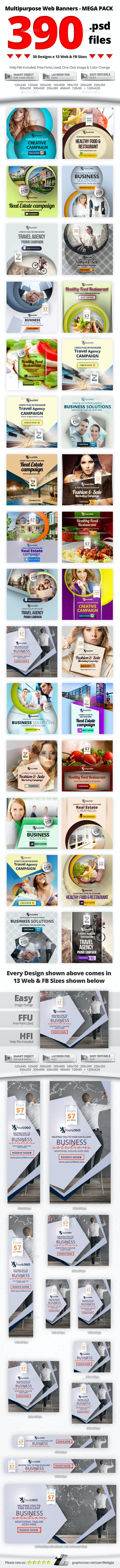 390 Web & Facebook Banners - MEGA PACK - Banners & Ads Web Elements