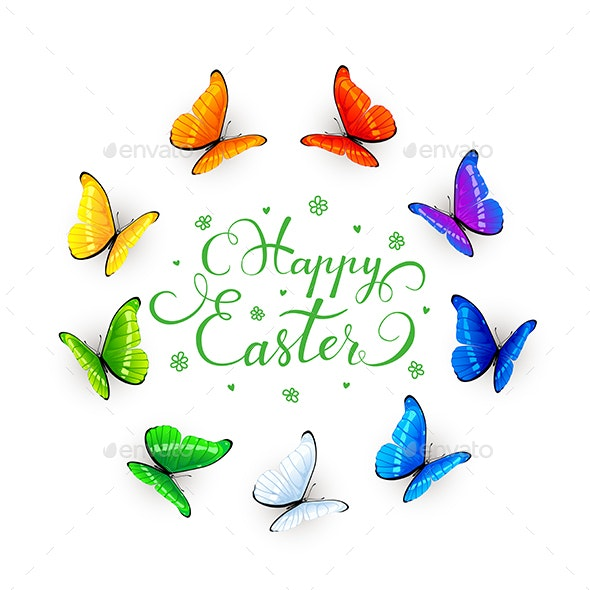 Easter Lettering and Butterflies on White Background - Animals Characters