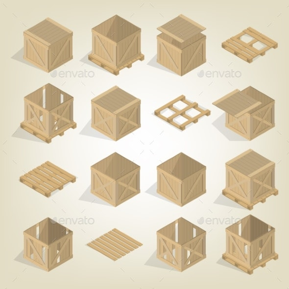 Realistic Wooden Box with Pallet Isometric Vector - Man-made Objects Objects