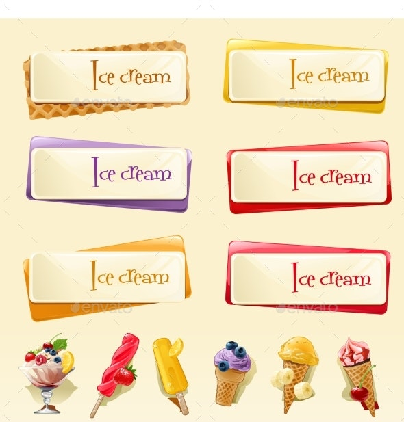 Vector Set of Banners with Ice Cream - Food Objects
