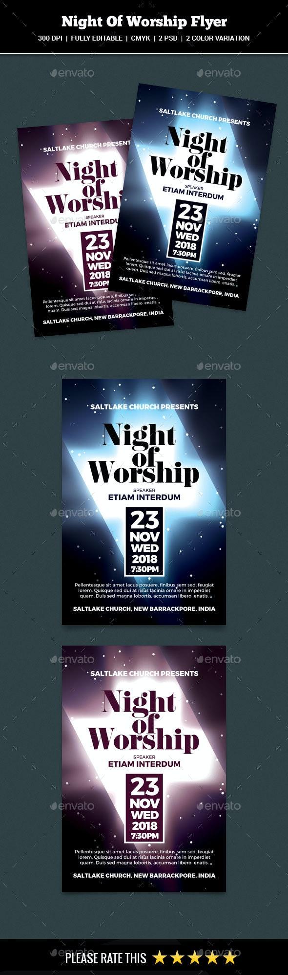Night Of Worship Flyer - Church Flyers