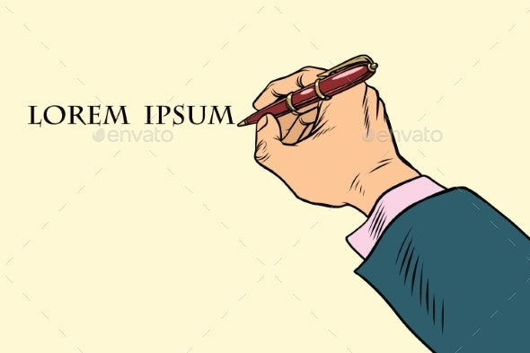 Businessman Signs a Document with a Pen - Concepts Business
