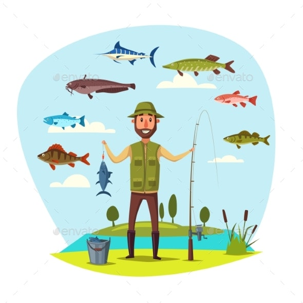 Fisher Man with Fish - Sports/Activity Conceptual