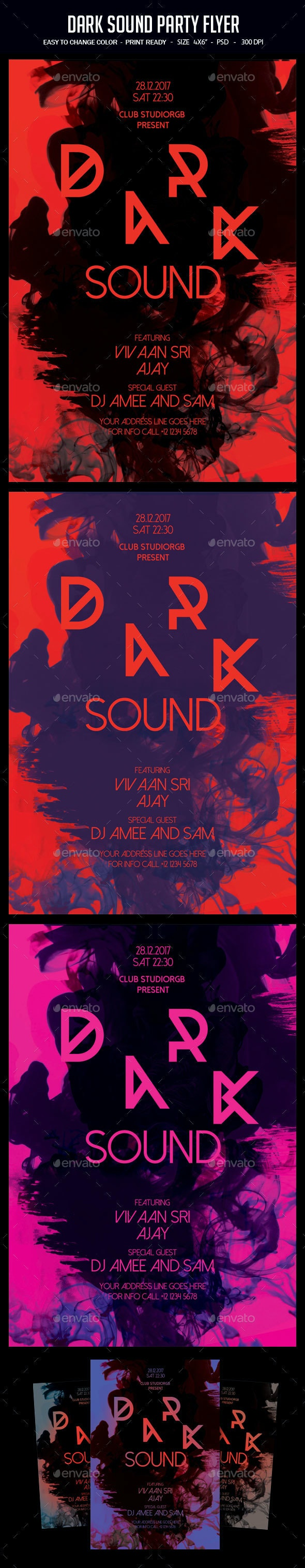 Dark Sound Party Flyer - Clubs & Parties Events