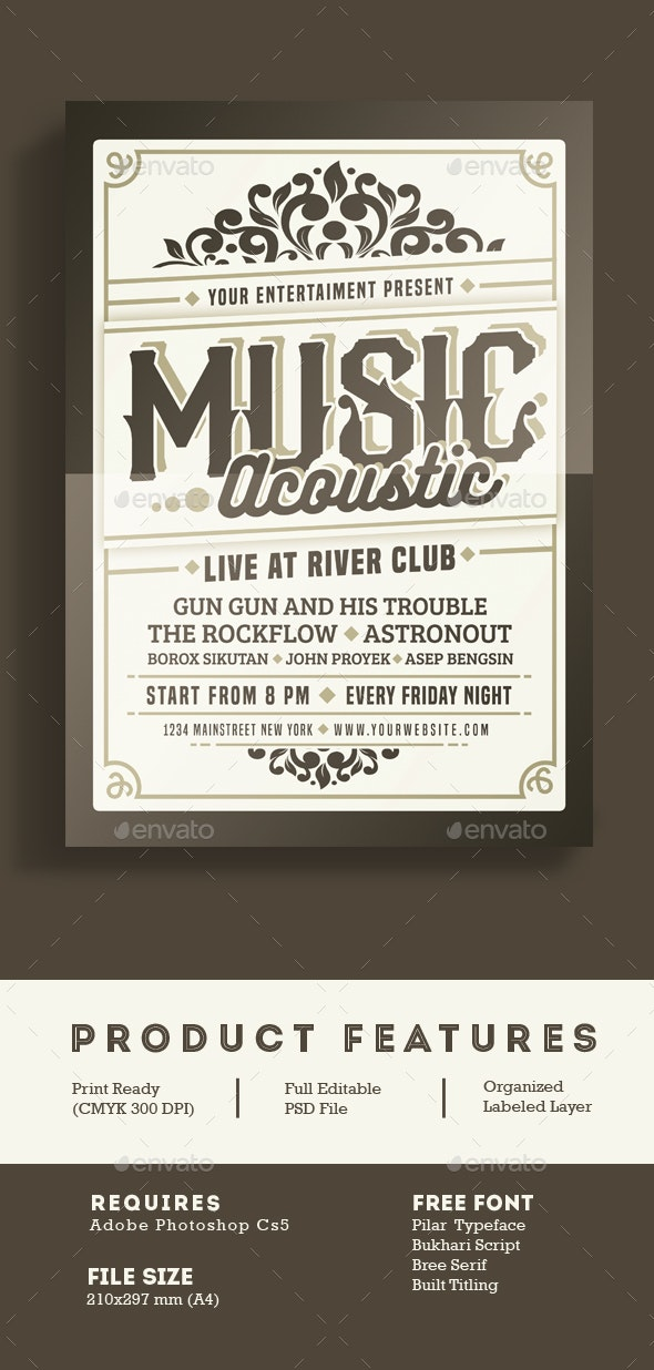 Music Acoustic Event - Events Flyers