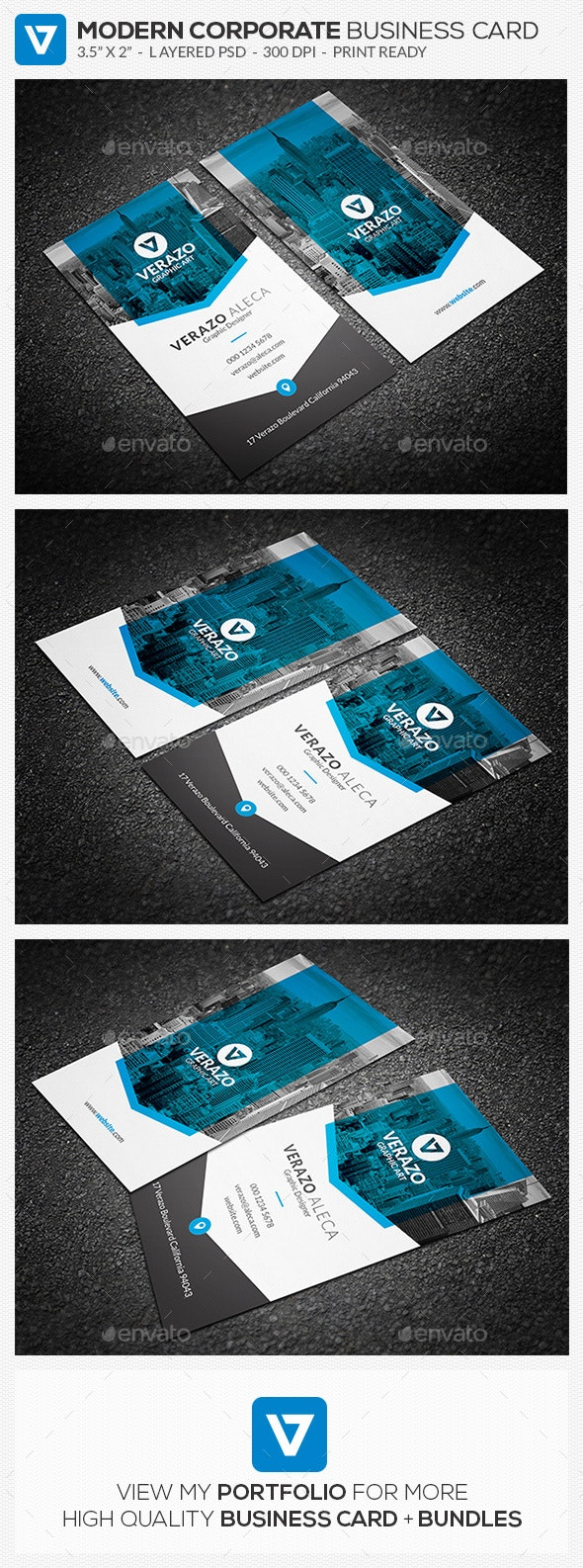 Clean & Modern Vertical Business Card Template - Corporate Business Cards