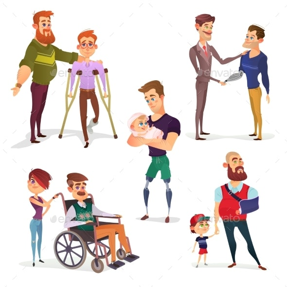 Set of Vector Cartoon Illustrations of People - People Characters
