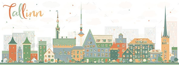 Abstract Tallinn Skyline with Color Buildings - Buildings Objects