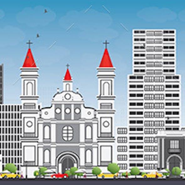Tegucigalpa Skyline with Gray Buildings and Blue Sky.