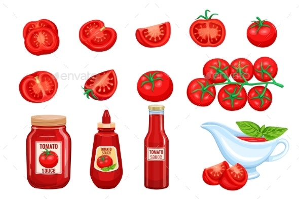 Set Red Tomato Vegetables Sauce - Food Objects
