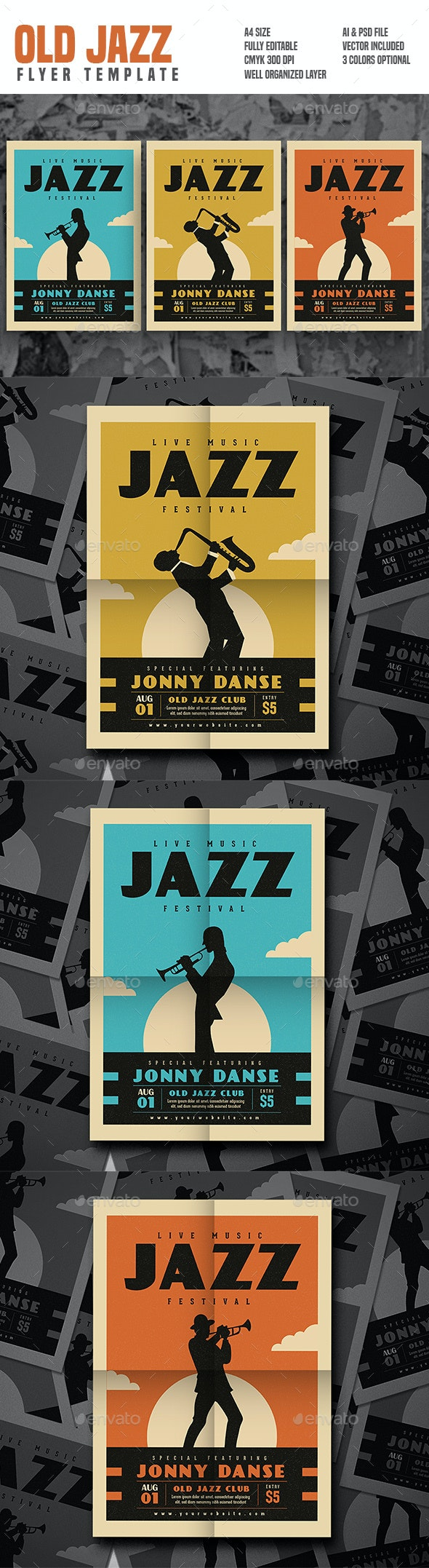 Old Jazz Festival Flyer Series - Concerts Events