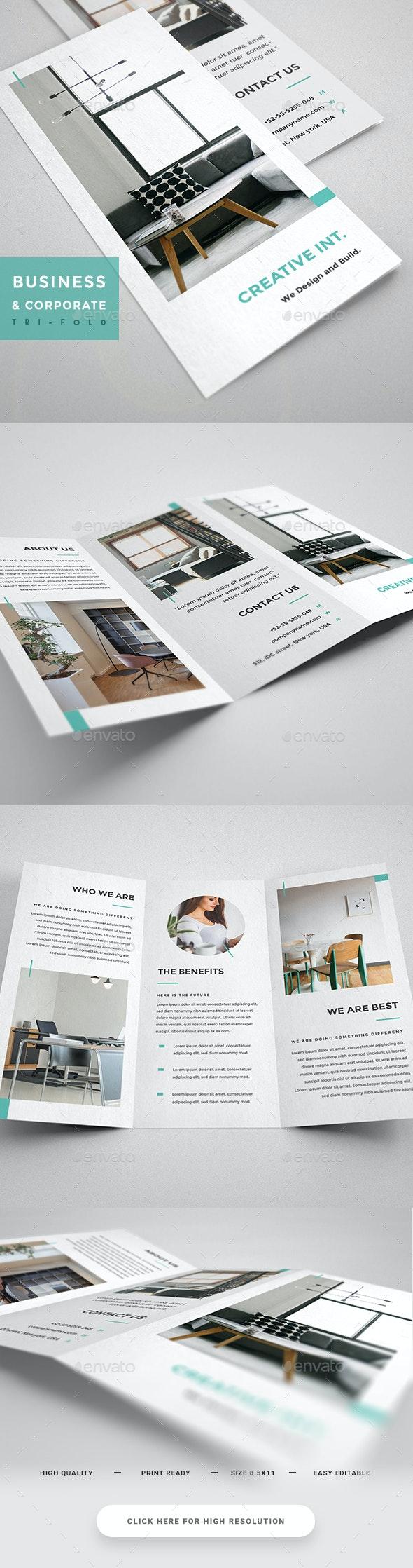 Interior Design Tri-Fold - Brochure - Brochures Print Templates