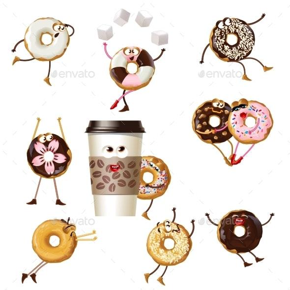 Cartoon Donuts Character Set - Food Objects