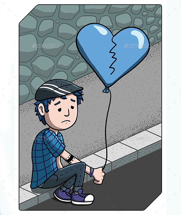 Sad Young Man Sitting on the Sidewalk - People Characters