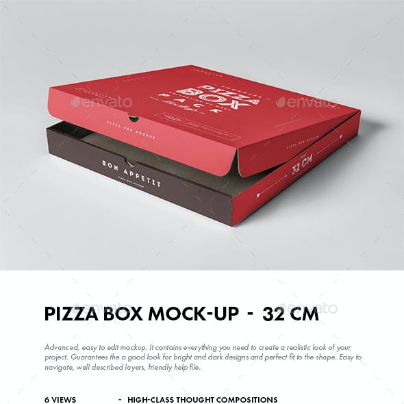 32 Pizza Box Mock-up
