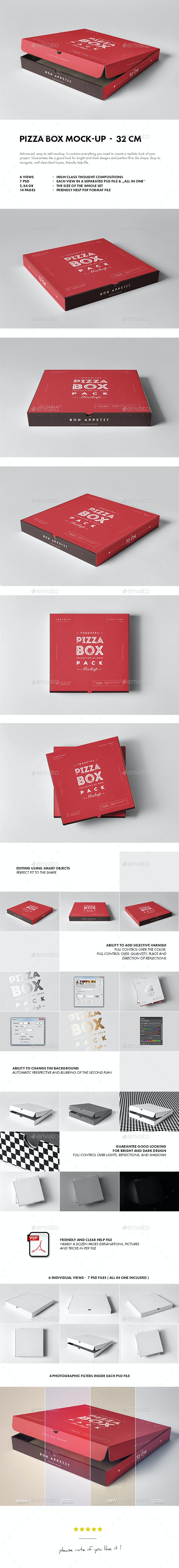 32 Pizza Box Mock-up - Food and Drink Packaging