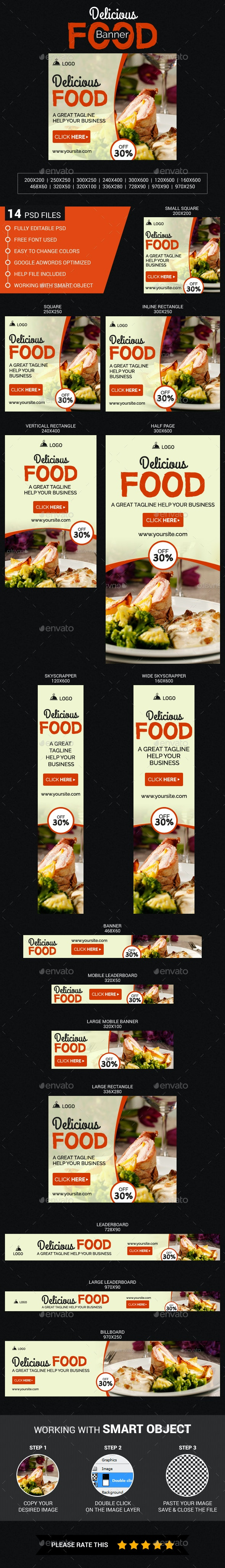 Delicious Food Banner - Banners & Ads Web Elements