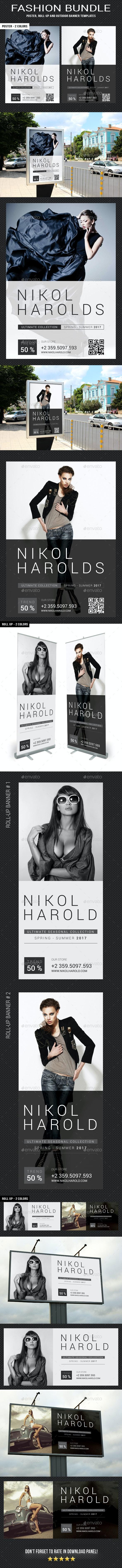 3 Fashion Poster - Banners Bundle - Signage Print Templates