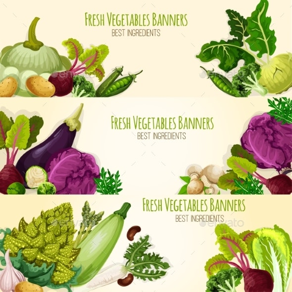 Vegetables and Fresh Veggies Vector Banners Set - Food Objects