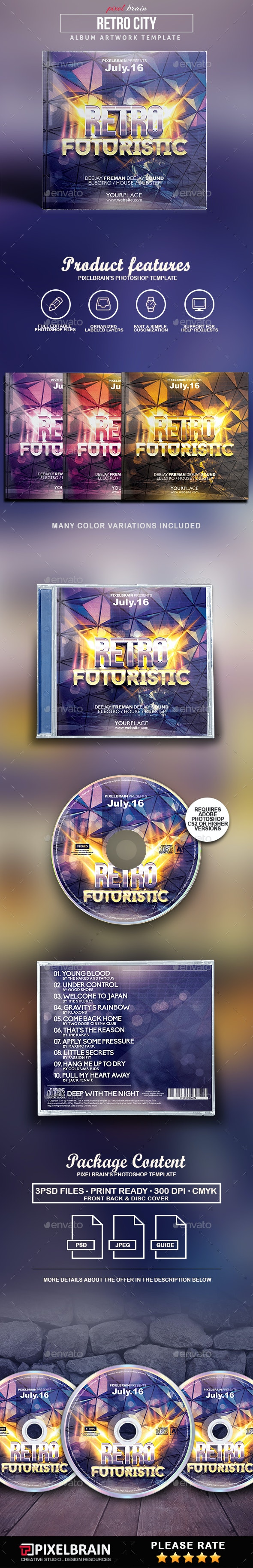 Retro City CD Cover Artwork - CD & DVD Artwork Print Templates