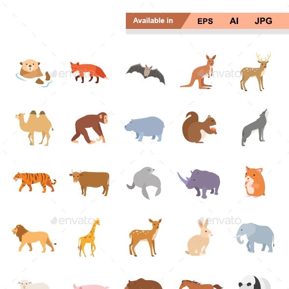Mammals I Color vector icons