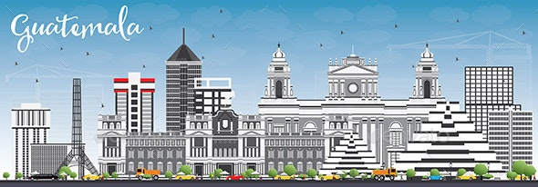 Guatemala Skyline with Gray Buildings and Blue Sky - Buildings Objects