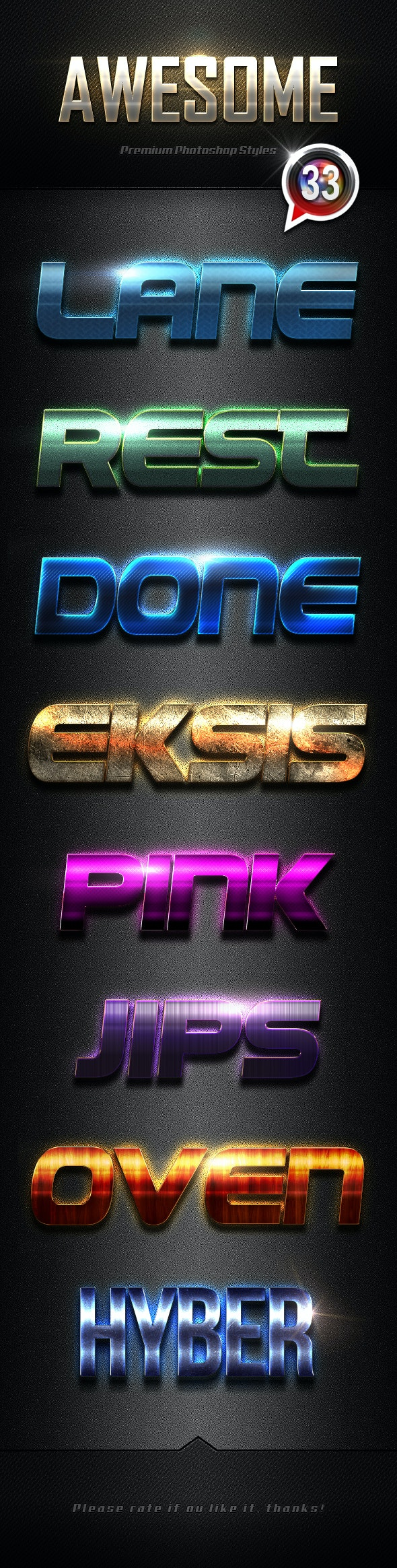 Photoshop Text Effects Vol.33 - Text Effects Styles