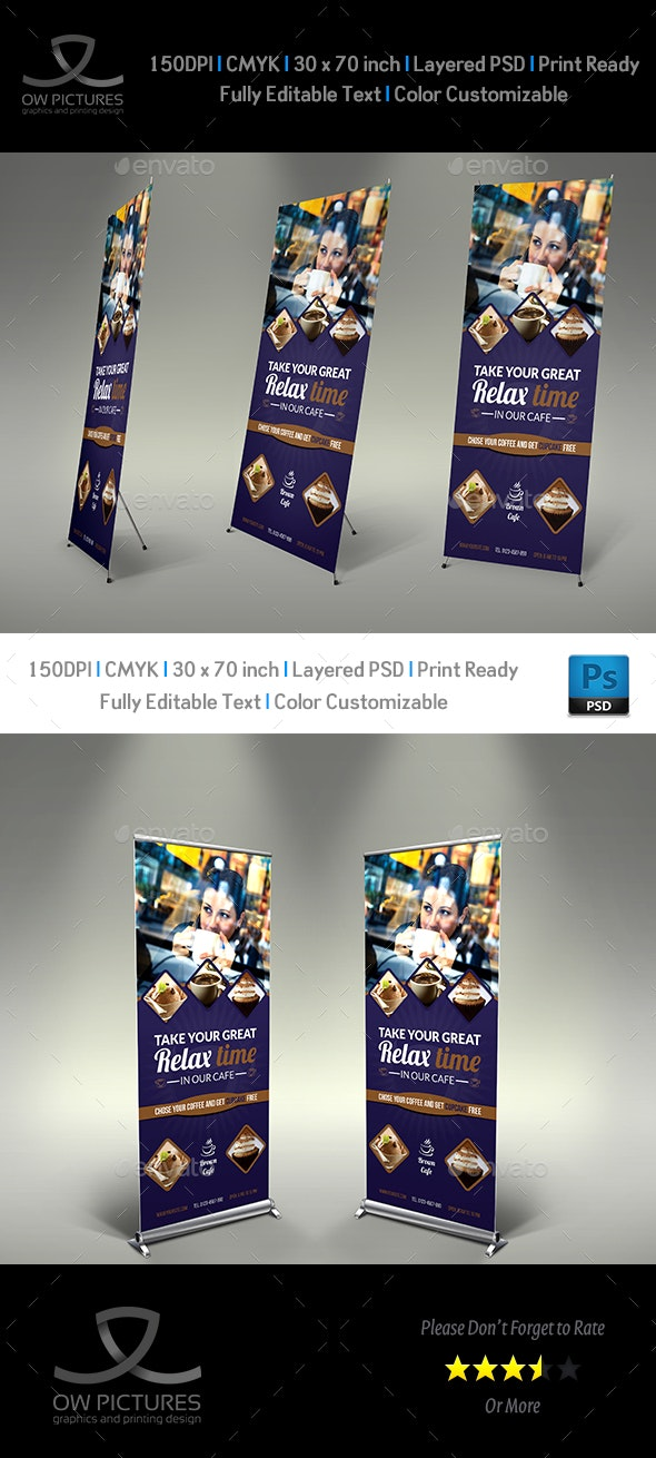 Cafe Signage Roll-Up Banner Vol.4 - Signage Print Templates